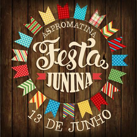 Festa Junina ilustración fiesta tradicional del festival de junio de Brasil. Ilustración vectorial Póster. Foto de archivo - 77303984