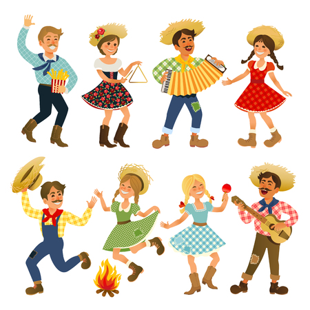 Festa Junina Brazil June Festival. Folklore Holiday. Karakters. Vectorillustratie. Stock Illustratie