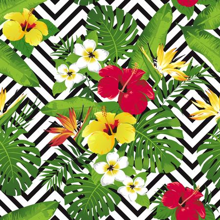 열 대 꽃과 기하학적 벡터에 나뭇잎