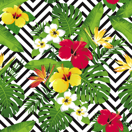 Tropical flowers and leaves on geometric vector Stock Illustratie