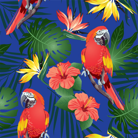 Tropical birds. Colorful parrots and exotic flowers. Vector.