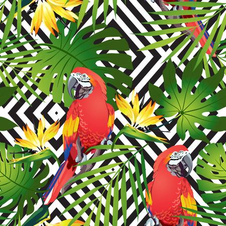 Pájaros tropicales. Loro colorido y flores exóticas. Vector. Foto de archivo - 78259709