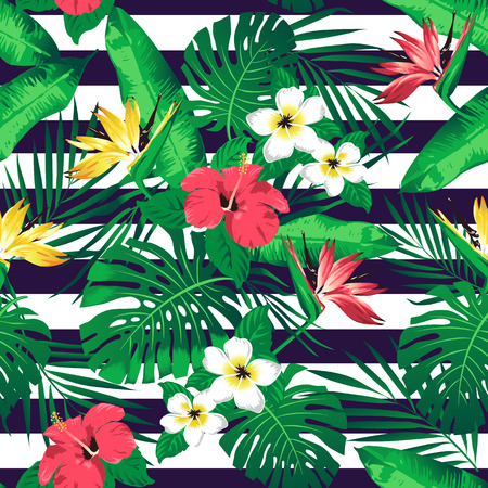 beach party: Tropical flowers and leaves on striped background. Seamless. Vector.
