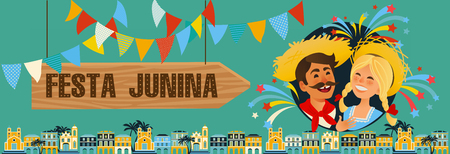 Festa Junina - Brazil June Festival. Folklore Holiday banner. Characters. Vector Illustration. Illusztráció