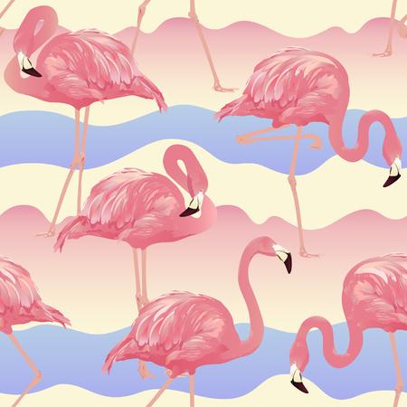Tropical Bird Flamingo Background - Seamless pattern vector