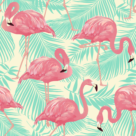 Flamingo Bird and Tropical palm Background - Seamless pattern vector