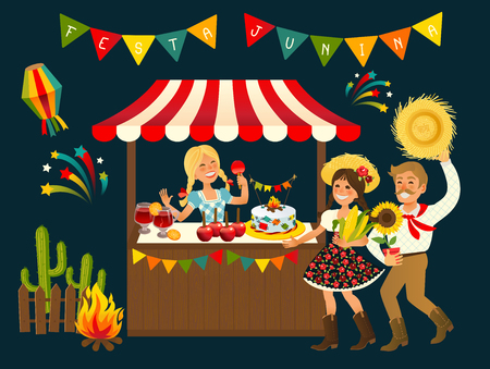 Tent Festa Junina Brazilian Apple Candy- June Party Festival. Vector Illustration.