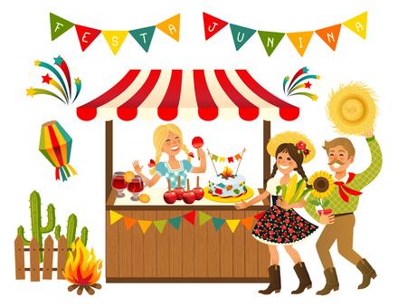 Tent Festa Junina Brazilian Apple Candy- June Party Festival. Vector Illustration. Vektorové ilustrace