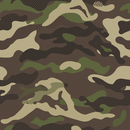 Camouflage pattern background. Seamless vector illustration. Classic clothing style masking. Green brown black olive colors forest texture Çizim