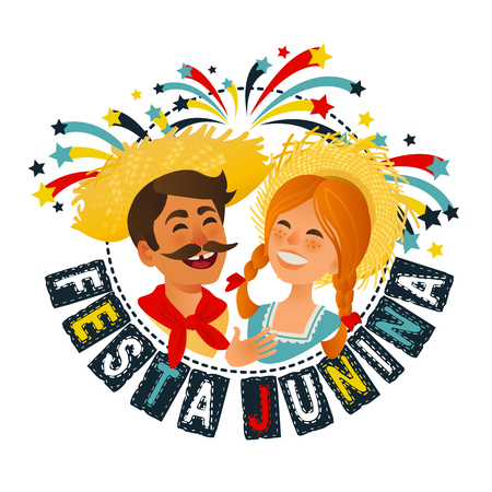 Festa Junina Brazil June Festival banner. Folklore Holiday. Characters. Vector Illustration. Illustration