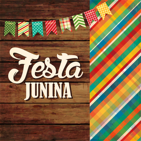 Festa Junina illustration - traditional Brazil June festival party. Vector wood illustration. Latin American holiday.