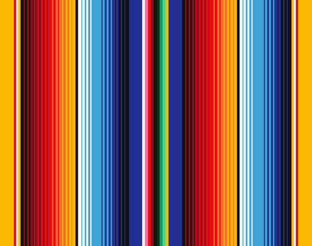 Mexican Blanket Stripes Seamless Vector Pattern. Background for Cinco de Mayo Party Decor or Mexican Food Restaurant Menu. Çizim