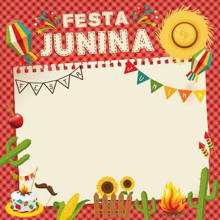 ・ フェスタ ・ ジュニーナ - ブラジルの 6 月祭。民俗学休日のレトロなポスター。ケージの背景。ベクトルの図。