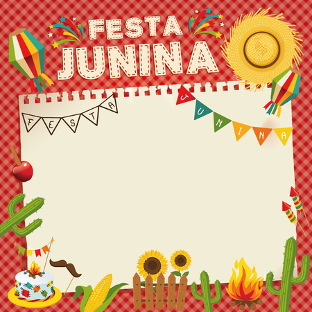 Festa Junina - Brazil June Festival. Retro Poster of Folklore Holiday. Cage Background. Vector Illustration. Vectores