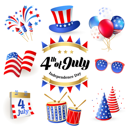 4th July - Independence day of United States of America - festive vector set with different holiday symbols isolated on white background