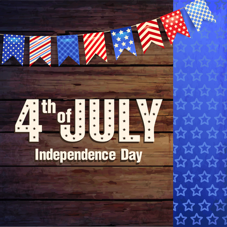 4th July - Independence day of United States of America - festive vector with different holiday symbols isolated on wood background Reklamní fotografie - 80176912