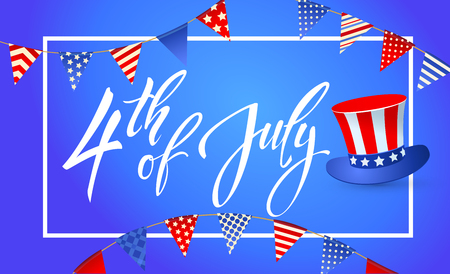 4th July - Independence day of United States of America - festive vector set with different holiday symbols isolated on blue background Illustration