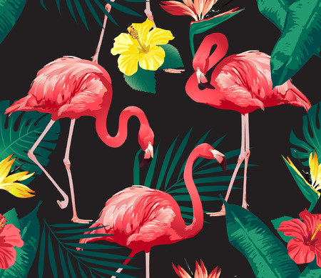 Flamingo Bird and Tropical Flowers Background - Seamless pattern vector