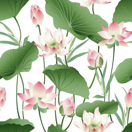 Botanisch patroon met roze lotusbloemen.