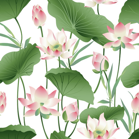 Botanical pattern with pink lotus flowers.