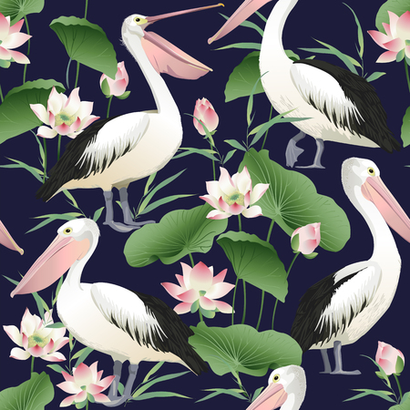 Pattern with graceful pelicans.
