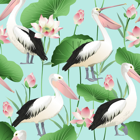Tropical exotic print with pelicans - Vector Image. Ilustracja