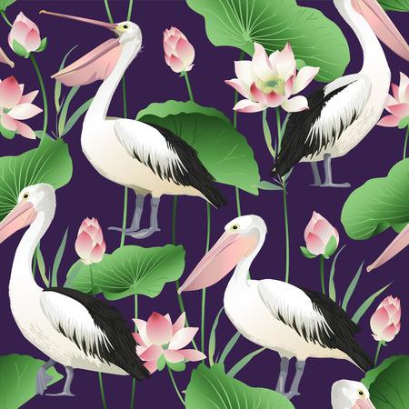 Tropical exotic print with pelicans - Vector Image. Ilustração