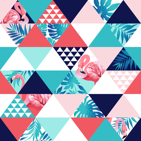 Exotic beach trendy seamless pattern, patchwork. Jungle pink flamingos Wallpaper print background mosaic 일러스트