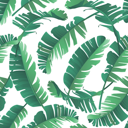 Seamless watercolor illustration of tropical leaves, jungle. Pattern with tropic summer background texture, wrapping paper, textile, wallpaper design. Banana palm leaves.