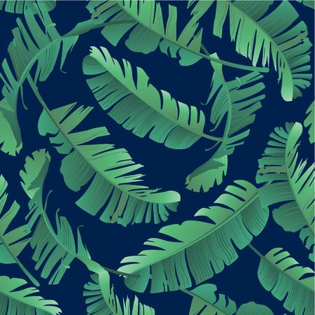 ジャングル、熱帯の葉の水彩イラスト。