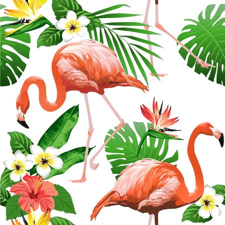 플라밍고 버드와 열 대 꽃 배경 - 원활한 패턴 벡터 일러스트
