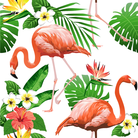 Flamingo Vogel en Tropische Bloemen Achtergrond - Naadloze patroon vector Stockfoto - 81374671