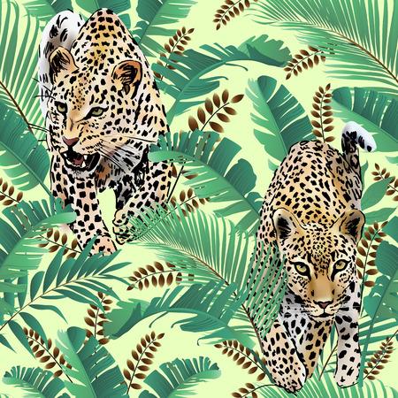 Ghepardo e leopardi palma lascia l'acquerello tropicale nella giungla sfondo senza soluzione di continuità Archivio Fotografico - 81582486