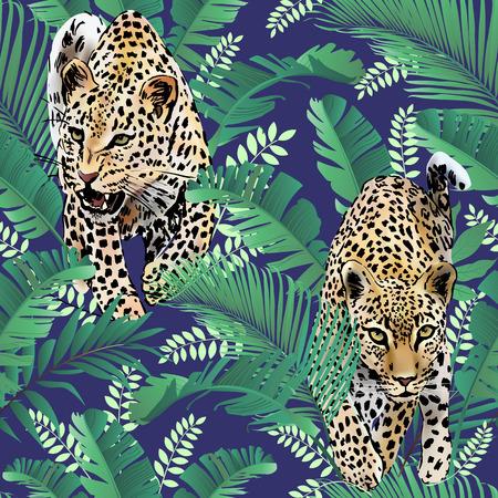 チーターとヒョウのヤシ葉熱帯水彩画ジャングルのシームレス背景  イラスト・ベクター素材