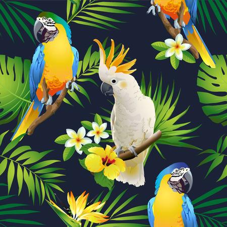 Patrón sin fisuras de loros cacatúa en las ramas tropicales con hojas y flores en la oscuridad. Vector dibujado a mano
