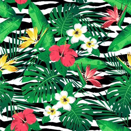 Tropical flowers and leaves on zebra striped seamless background vector.