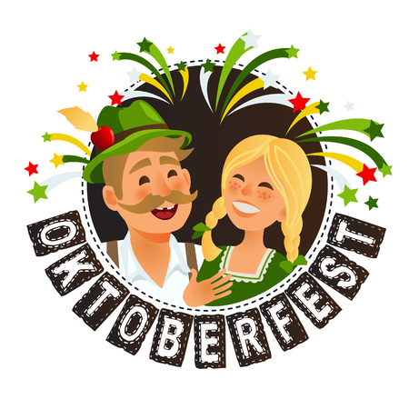 People in traditional german bavarian costume holding beer mugs oktoberfest cartoon vector illustration