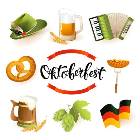 Oktoberfest icon set with hat, accordion, sausage, pretzel, hops, flag and mug of beer. Vector illustration.