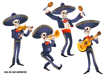 Dia de Muertos. Mariachi band musician of skeletons. Mexican tradition. Vector illustration.