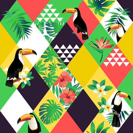 Exotic beach trendy pattern, patchwork illustrated floral tropic leaves. Иллюстрация