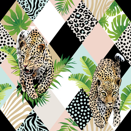 Tropical palm leaves and exotic leopard background.