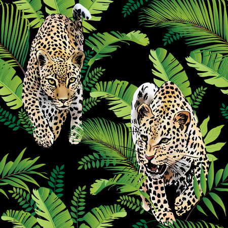 Leopards palm leaves tropical watercolor in the jungle.