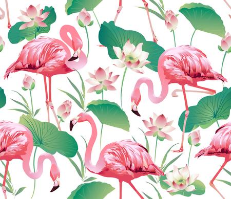 Flamingo Bird and Flowers.