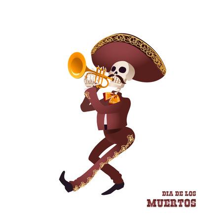 Dia de Muertos. Mariachi musician skeleton. Mexican tradition. Vector illustration. 向量圖像