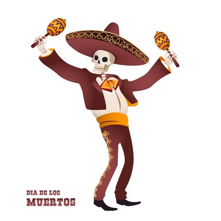 Dia de Muertos. Mariachi músico esqueleto. Tradición mexicana Ilustración del vector. Ilustración de vector
