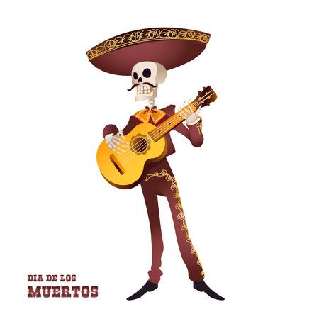 Dia de Muertos. Squelette de musicien Mariachi. Tradition mexicaine. Illustration vectorielle Banque d'images - 86986522