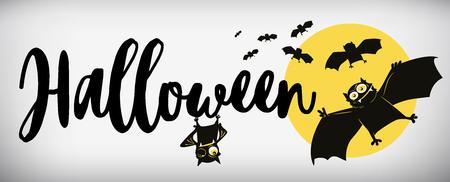 Happy Halloween banner comical bat vector illustration. Illustration