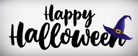 Happy Halloween Banner. Witchs hat. Vector illustration. Illustration