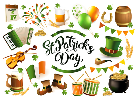 Happy Saint Patricks Day traditional collection. Irish music, flags, beer mugs, clover, pub decoration, leprechaun green hat, pot of gold coins. Vector illustration isolated on white background
