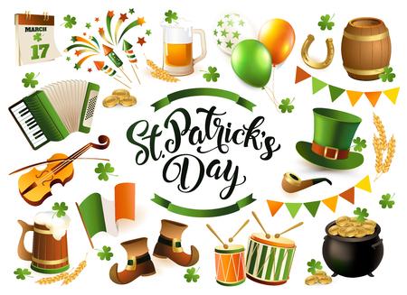 Happy Saint Patrick's Day traditionele collectie. Ierse muziek, vlaggen, biermokken, klaver, kroegdecoratie, kaboutergroene hoed, pot met gouden munten. Vectorillustratie geïsoleerd op witte achtergrond